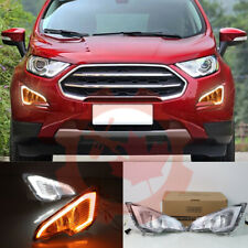 For Ford EcoSport 2018-2020 LED Daytime Running Light Fog Light DRL White+Yellow