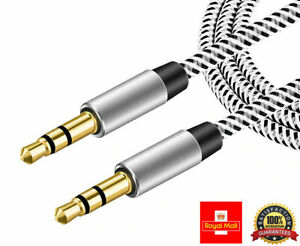 3.5mm Jack Aux Cable Audio Lead For Headphone MP3 PC Car GOLD Plated -Braided 1M