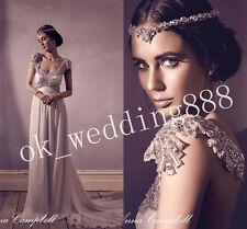Cap Sleeve Crystal Beaded Vintage Bridal Gown Boho Beach Chiffon Wedding Dresses
