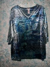 Catherines Womens Plus Sz 1X 18/20W Velour Knit Top Blue Embellished 3/4 Sleeve