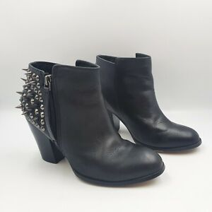 Aldo Size 37 Black Leather Spike Studded Heel Almond Toe Heeled Ankle Boots