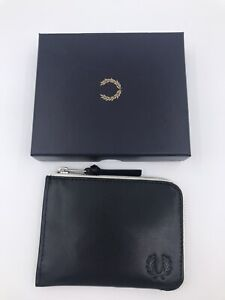 Fred Perry Men CNTRST INT Leather Zip Around Wallet Black