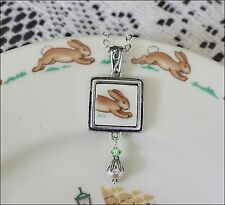 "ROYAL DOULTON BUNNYKINS PLATE SQUARE ""BROKEN CHINA"" PENDANT NECKLACE"