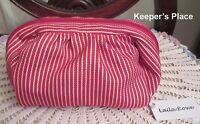 Laila Rowe Small Makeup Case Pouch Zippered Red White Stripe New Tag