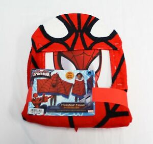Marvel Kid's Ultimate Spiderman Hooded Towel CD4 Red Size 22 in. x 51 in. NWT