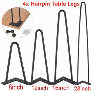 "4 x Hairpin Legs / Hair Pin Legs Set for Furniture Bench Desk Table 8/12/16/28 """