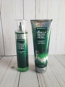 bath and body works vanilla bean noel fine fragrance mist and body cream set