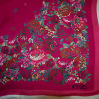 Kenzo authentic pure mulberry silk chiffon fabric. Floral 0.68 x 0.68 m. DEFECT!