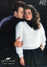 """~ Hayfield Knitting Pattern For Adults' Ribbed V-Neck Mohair Sweater ~ 32"""" ~ 44"""""""