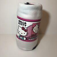 """Sanrio Hello Kitty Fleece Throw Blanket Polka Dot 45""""x60"""" Red White Black NEW"""