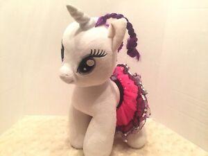 Build A Bear Rarity My Little Pony White Purple Hair EUC Glitter Skirt Clean