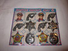 1960's LONE RANGER TEXAS SHERIFF TIN BADGE PIN MOUNT SET JAPAN SET OF 12