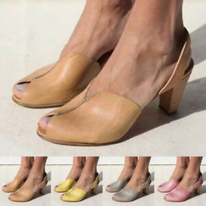 Women Summer Med Heel Ankle Strap Cut Out Peep Toe Sandals Roman Shoes