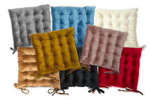 Quilted Velvet Padded Cushion Chair Seat Pads With Ties Garden Dining Kitchen