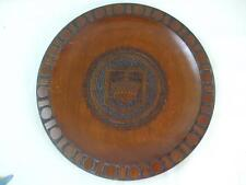 """Vintage Wooden Wall Hanging Plate from Koronowo Poland Crown Coat of Arms 11"""""""