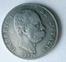 1887 ITALY LIRA - HIGH GRADE - RARE SILVER COIN - Lot #F26