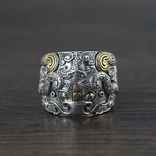 Solid 925 Sterling Silver Mens Heavy Ancient Mythical Lion Ring Adjustable Size
