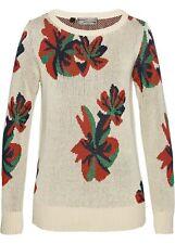 Pullover mit Blumenmuster Gr. 48/50 Kieselbeige Dunkelblau Damenpullover Neu*
