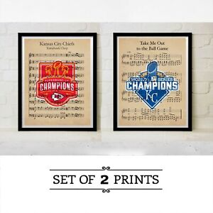 Kansas City Chiefs Royals World Series Super Bowl Champs Art Gift Baseball KC