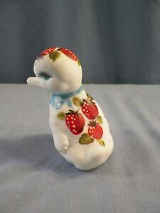 Rare Fenton Painted Satin Milk Glass Duck Figurine Strawberries Louise Piper