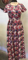 Vintage Pink Rose Floral Dress SM/MD hippie,bohemian,gypsy,cowgirl,western,