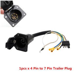 1X Wiring Adapter Plug 4 Pin Flat to 7 Pin Round RV Blade Trailer Plug Towbar