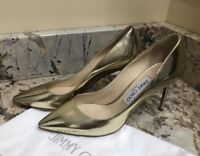 Jimmy Choo Gold Leather Pumps Shoes Stilettos Heels size 37.5 / 7.5 New