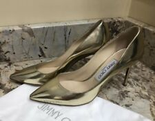"Jimmy Choo Gold Leather Pumps Shoes 3"" Heels size 37.5 / 7.5 New"