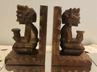 Vintage Hand Carved Aztec Mayan Tiki Wood Book Ends