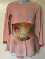 GK PINK VELVET CHILD SMALL LgSLV SERPENTINE TIE-DYE FIGURE SKATE DRESS CS NWT!