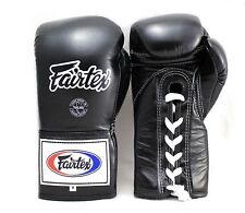 FAIRTEX LACE UP  GLOVES Competition BGL6 10,12,14,16 oz BLACK  MUAY THAI MMA K1
