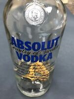 1 EMPTY ABSOLUT VODKA BOTTLE CLEAR 750 ML with Ginseng roots