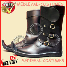 Medieval Leather Boots Brown Re-enactment Mens Larp Role-Play Costume Boot A8a1