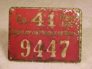 1927 METAL PENNSYLVANIA PA RESIDENT HUNTING LICENSE ~ # 9447