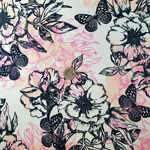 Stretch Viscose Lycra jersey fabric- Ivory with Flowers & Butterflies-150cm Wide