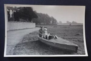 Photograph Mother, Daughter, Doll & Teddy Bear in Boat Rockcliffe Cumbria A017