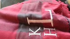 Pottery Barn Buffalo Check throw red monogrammed LKH 50 X 60 New
