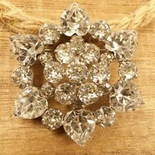 Vintage WEISS Signed Heart Shaped White Crystal Winter Snowflake Brooch Pin L6