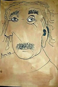 Pablo Picasso Einstein Portrait on Paper Original Watercolor Painting. Signed.