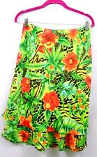 Versailles Skirt Women's Size Medium Two Layer Hem Floral Green Flared Polyester