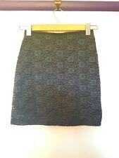 Hollister womens size XS dark blue floral lace mini pencil skirt