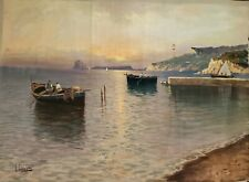 V. CIAPPA (ITALIAN, 20TH C.) SIGNED ORIGINAL OIL PAINTING SEASCAPE,LISTED ARTIST