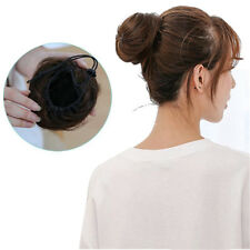 Women Straight Synthetic Chignon Straight Bun Hairpiece Clip in Hair Extensions
