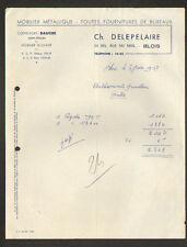 """BLOIS (41) Commerce de MATERIEL BUREAUTIQUE """"Ch. DELEPELAIRE"""" en 1957"""