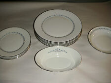 VINTAGE OXFORD LENOX 13 PIECE BLUEFIELD BONE CHINA DINNER LUNCH SOUP SERVE BOWL