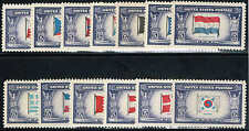 #909-21 1942-43 5 CENT OVERRUN NATIONS ISSUES  MINT-OG/LITE HINGED--XF/SUPERB