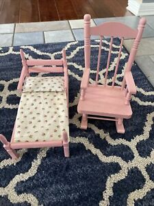 Pink Doll House Furniture- Bed and Rocking Chair