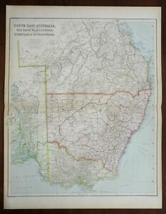 Southeast Australia New South Wales Queensland 1914 Philip scarce fine large map