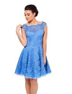 Sistaglam Beautiful Dress Lace Overlay Blue Size 12 New with Tags