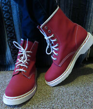 Worn ONCE Original Dr MARTENS Rare DEEP PINK Airwair 8 Eyelet Leather BOOTS US 9